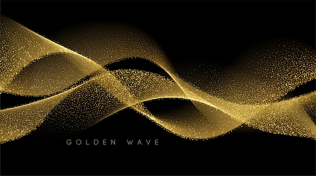 Abstract shiny color gold wave design element with glitter effect on dark background