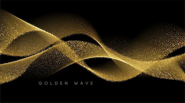 暗い背景にキラキラ効果を持つ抽象的な光沢のある色のゴールドウェーブデザイン要素