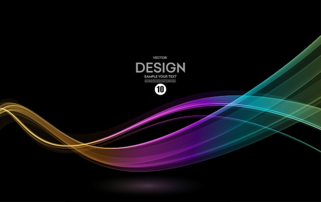 Abstract shiny color spectrum multicolor wave design element on dark