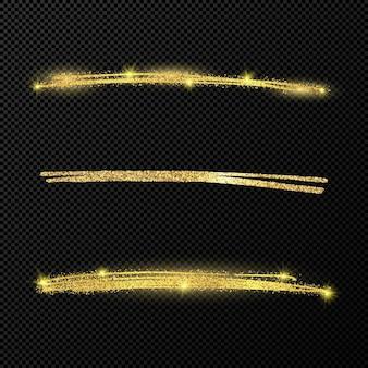 Абстрактные блестящие конфетти сверкающие волны. набор из трех рисованной кисти золотые мазки на черном прозрачном фоне. векторная иллюстрация