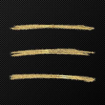 抽象的な光沢のある紙吹雪のきらびやかな波。黒の透明な背景に3つの手描きブラシ金色のストロークのセットです。ベクトルイラスト