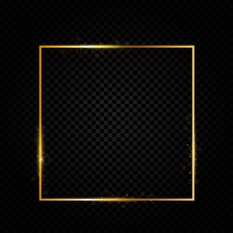 Abstract shiny golden frame  luxury  on transparent background.