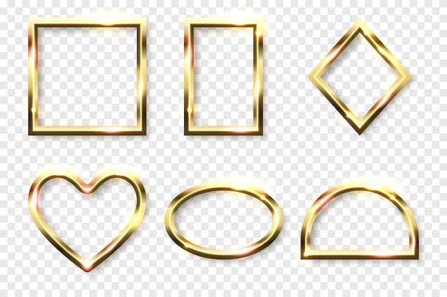Абстрактные блестящие золотые геометрические фигуры кадры с белым пустым пространством для текста на прозрачном фоне векторные иллюстрации