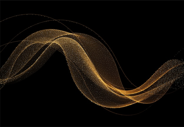 Abstract shiny golden wavy design with glitter effect flow gold wave on dark background