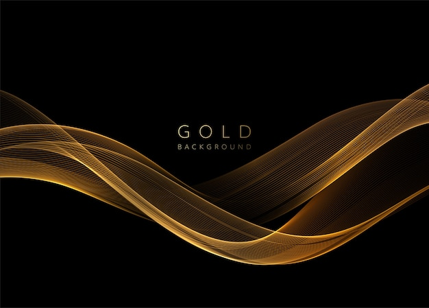 Abstract shiny golden wavy  element. flow gold wave on dark background.