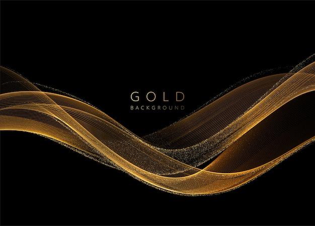 반짝이 효과와 추상 빛나는 황금 물결 모양의 요소입니다. 어두운 배경에 골드 웨이브 흐름.