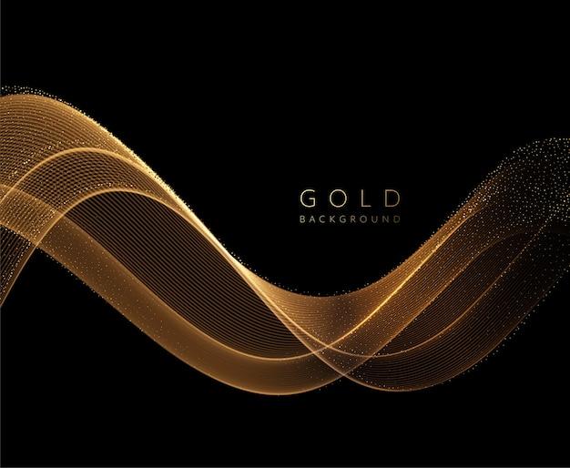 キラキラ効果のある抽象的な光沢のある金色の波状要素。暗い背景にゴールドウェーブを流します。