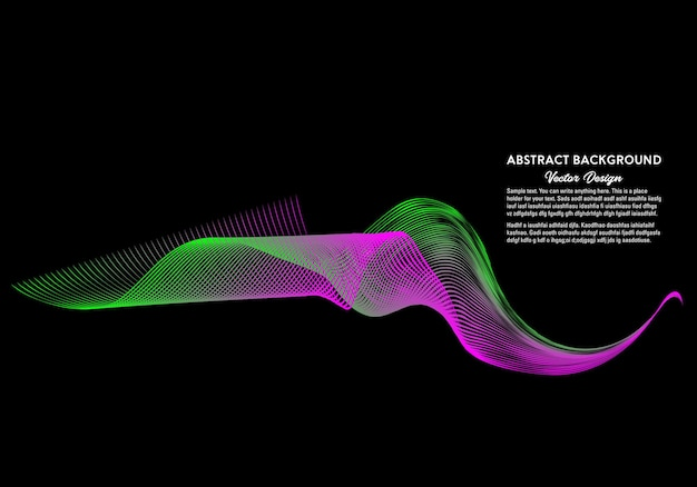 Abstract shiny green and pink color wave on black background vector illustration