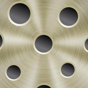 Abstract shiny metal background in golden color with circular brushed texture and round holes
