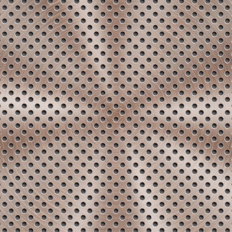 Абстрактный блестящий металлический фон бронзового цвета с круговой матовой текстурой и круглыми отверстиями