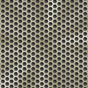 円形の起毛テクスチャと六角形の穴と金色の抽象的な光沢のある金属の背景