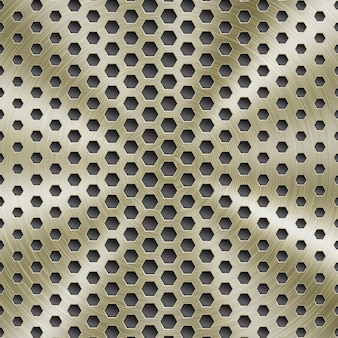 Абстрактный блестящий металлический фон золотого цвета с круговой матовой текстурой и шестиугольными отверстиями