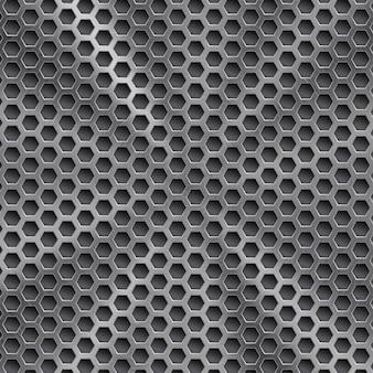 원형 브러시 텍스처와 육각형 구멍이 있는 은색의 추상 빛나는 금속 배경