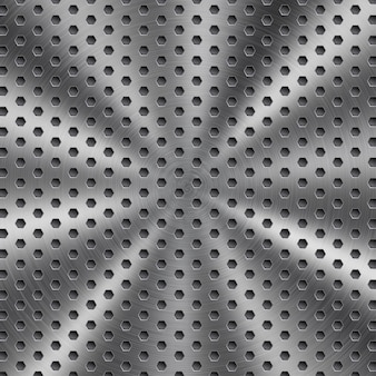 Abstract shiny metal background in silver color with circular brushed texture and hexagonal holes