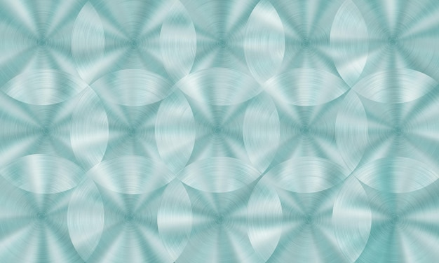 Abstract shiny metal background with circular brushed texture in light blue colors