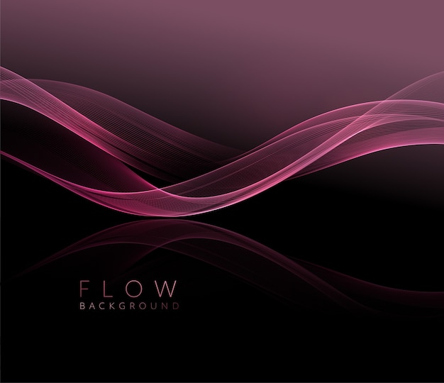Abstract shiny pink wavy  element. flow rose wave on dark background.