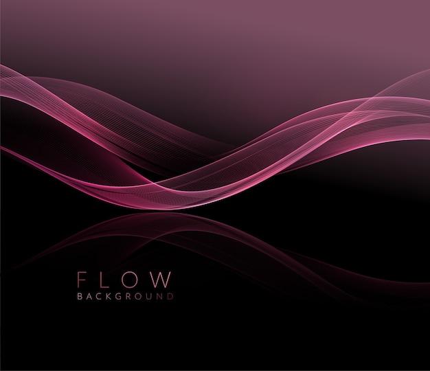 抽象的な光沢のあるピンクの波状の要素。暗い背景にバラの波を流します。