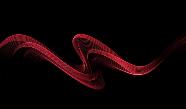 Абстрактный блестящий элемент дизайна волны красного цвета на темном фоне. дизайн модного движения для ваучеров, веб-сайтов и рекламы. золотые линии для косметического подарочного сертификата