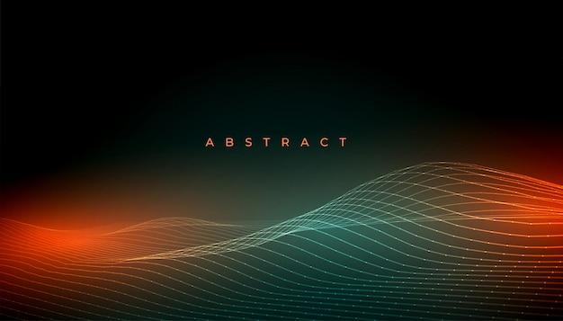 光の効果と抽象的な光沢のある波線背景