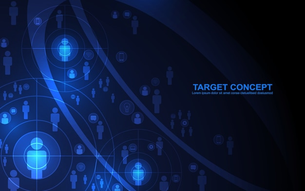 Abstract shooting target audience template on black blue background.