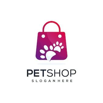ペットの形のロゴを組み合わせた抽象的な店