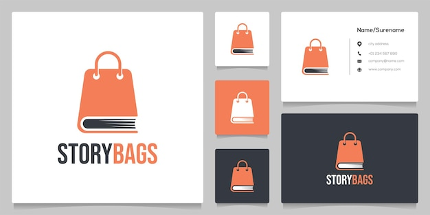 Abstract shopping bag and book logo design template illustration