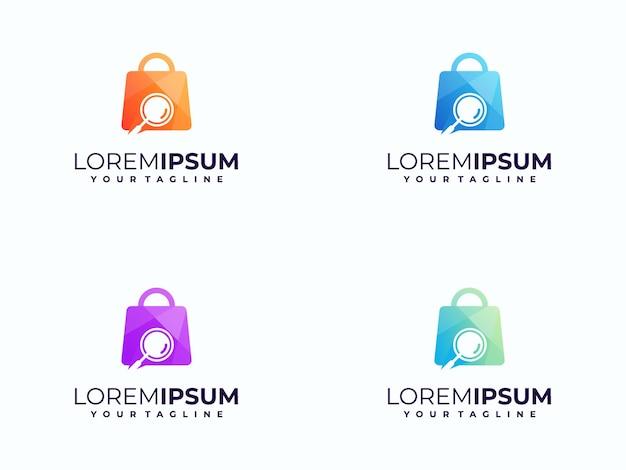 検索アイコンの概念を持つ抽象的なショッピングバッグのロゴ
