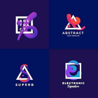 Abstract signs or logo templates set. elegant  blend curve in a frame with ultraviolet gradient and modern typography. dark blue background