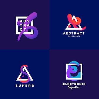 抽象的な標識またはロゴのテンプレートセット。紫外グラデーションとモダンなタイポグラフィを備えたフレーム内のエレガントなブレンドカーブ。濃い青色の背景