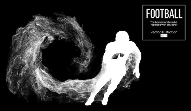 Abstract silhouette of a american football player on dark black background from particles, dust, smoke, steam. football player running with ball. rugby.