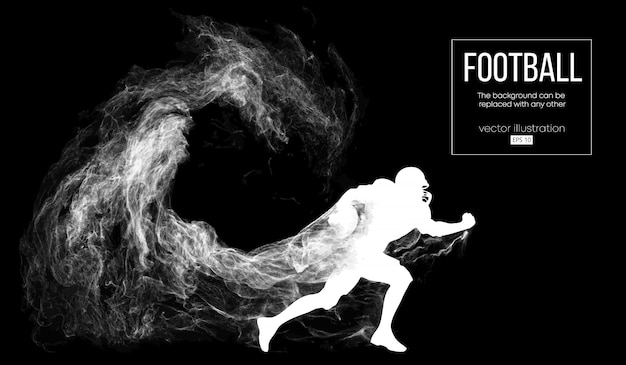 Abstract silhouette of a american football player on dark black background from particles, dust, smoke, steam.