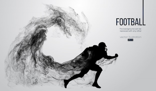 Abstract silhouette of a american football player on white background from particles, dust, smoke, steam. football player running with ball. rugby.