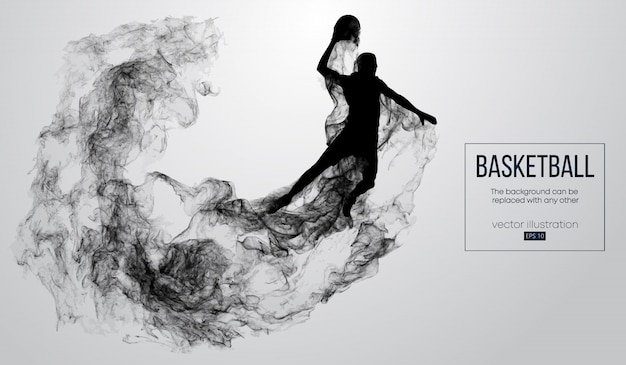 Abstract silhouette of a basketball player on white background from particles, dust, smoke, steam. basketball player jumping and performs slam dunk.