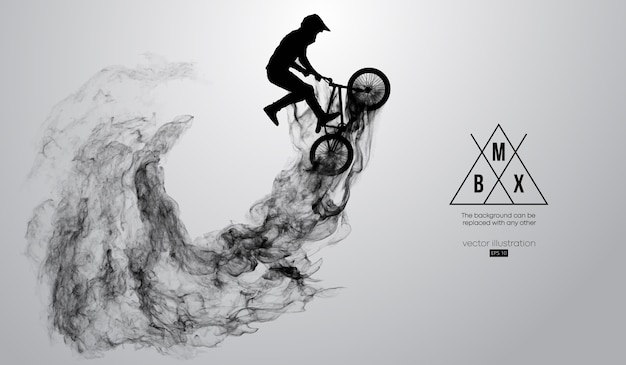 Abstract silhouette of a bmx rider on white background