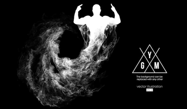 Abstract silhouette of a bodybuilder gym illustration
