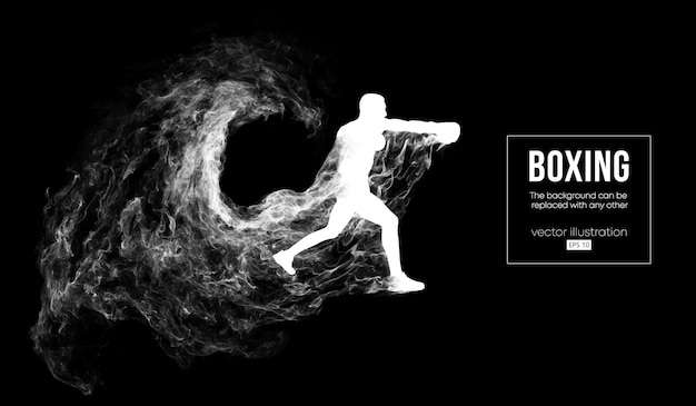 Abstract silhouette of a boxer on the black background