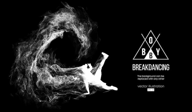 Abstract silhouette of a breakdancer