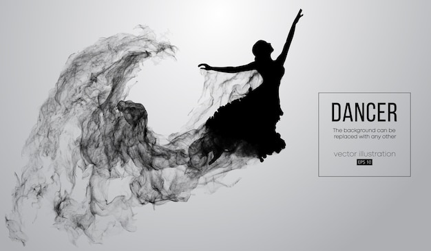 Abstract silhouette of a dancing girl on white background