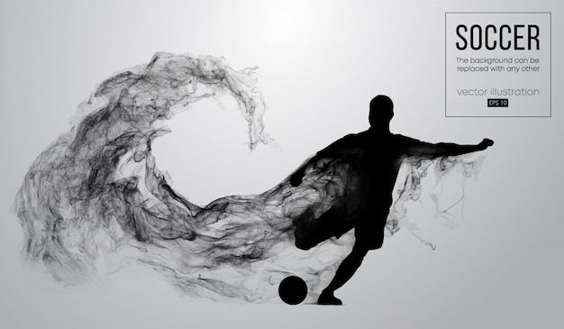 Abstract silhouette of a football player on dark black background from particles. soccer player running jumping with ball. world and european league.