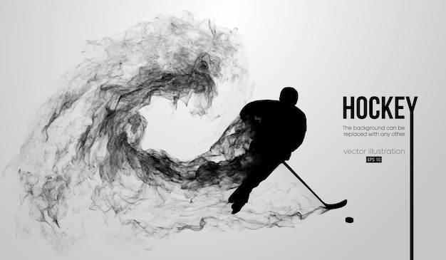 Abstract silhouette of a hockey player