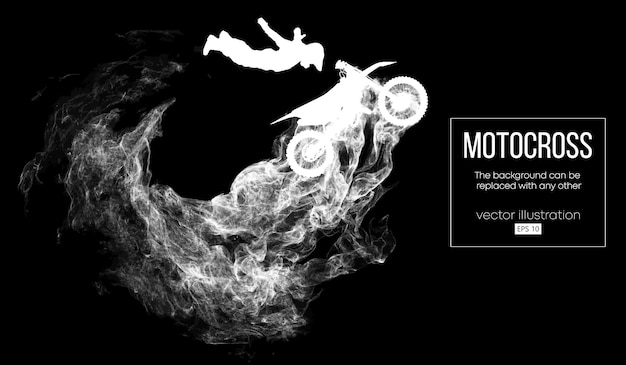 Abstract silhouette of a motocross rider