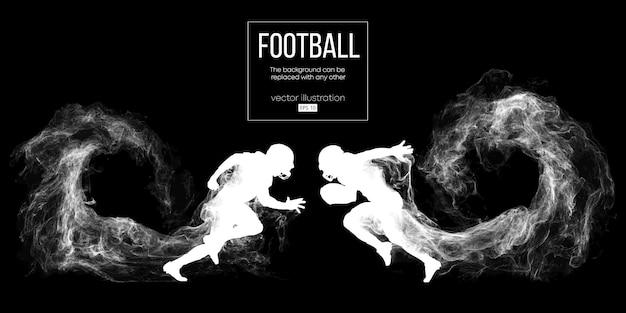 Абстрактный силуэт игрока в американский футбол на темном черном фоне из частиц, пыли, дыма, пара. футболист с мячом. регби.