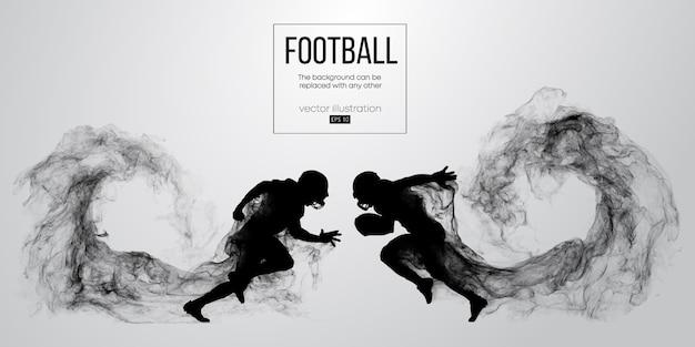 입자, 먼지, 연기, 증기에서 흰색 배경에 미식 축구 선수의 추상 실루엣. 공을 실행하는 축구 선수. 럭비.