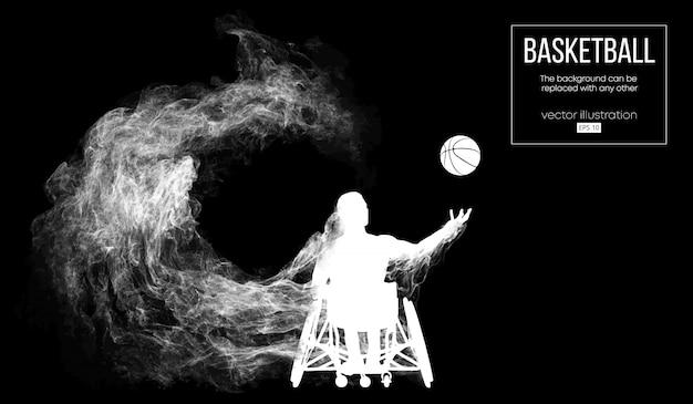 粒子、ほこり、煙、蒸気から暗い黒い背景で無効になっているバスケットボール選手の抽象的なシルエット。バスケットボール選手はボールを投げるを実行します。