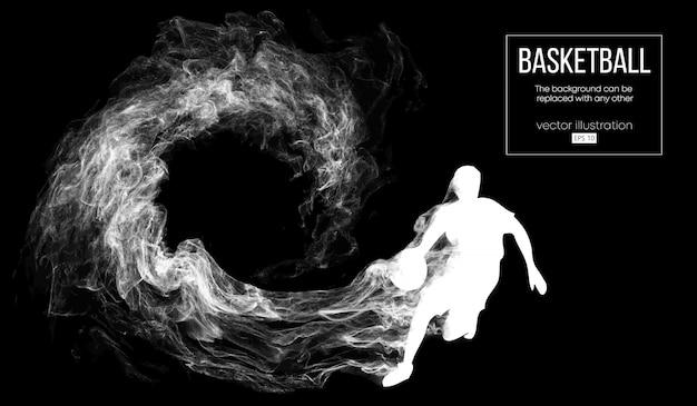 입자, 먼지, 연기, 증기에서 어두운 검정색 배경에 농구 선수의 추상 실루엣. 농구 선수가 실행 중입니다.