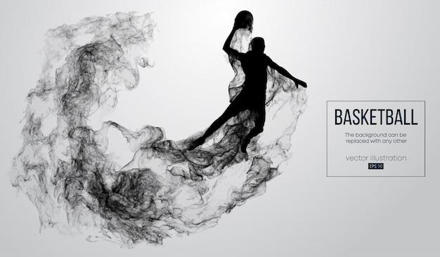 Абстрактный силуэт баскетболиста на белом фоне из частиц, пыли, дыма, пара. баскетболист прыгает и выполняет хлопающий данк.