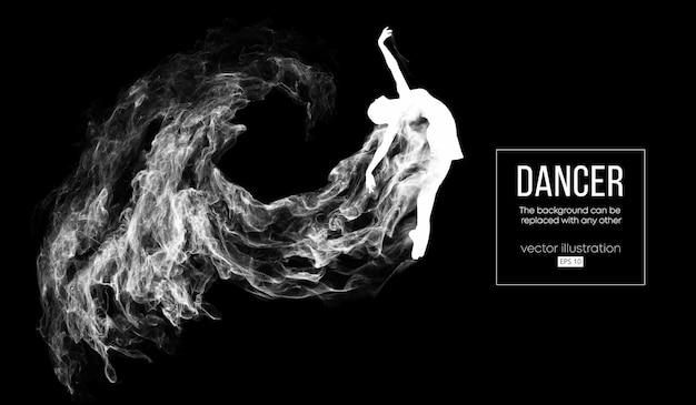 Абстрактный силуэт танцующей девушки на темном фоне