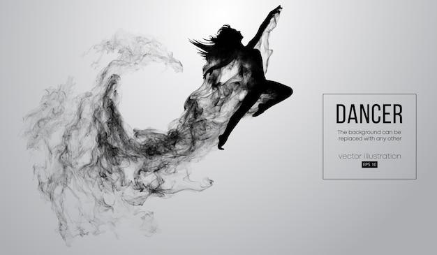 Абстрактный силуэт танцующей девушки на белом фоне