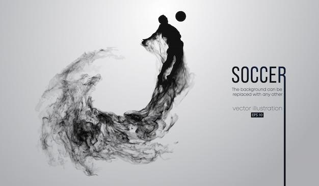 Абстрактный силуэт футболиста на темном черном фоне из частиц. футболист работает прыжки с мячом. мировая и европейская лиги.