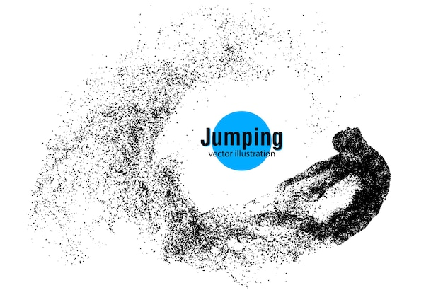 점프 남자의 추상 실루엣